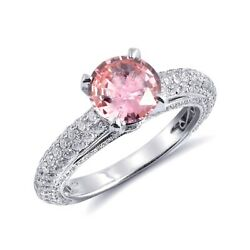 18K White Gold 2.69 ct TGW Padparadscha Sapphire and DiamondOne-of-a-Kind Ring