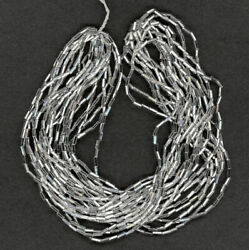 Vintage Silver Lined Bugle Beads Size 2 Clear Glass 10 Strand Hank 25 Grams $6.00