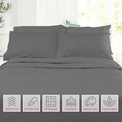 6 Piece 1800 Count Bed Sheet Set Extra Deep Pocket Sheets 36 Colors Available $28.99