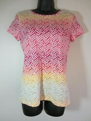 Sonoma Shirt S Pink Yellow Beige SS Short Sleeve Womens CLEARANCE SALE $9.74