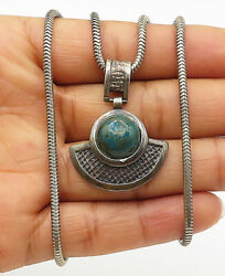925 Sterling Silver - Vintage Cabochon Cut Green Jasper Chain Necklace - N2263