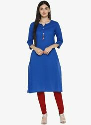 Party Wear Long Dress Blue Solid Kurta Round Neck Women Dress $18.94