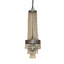 Le Bon Crystal Chandelier French Long Hand Crafted Aged Black Silver Finish $438.90