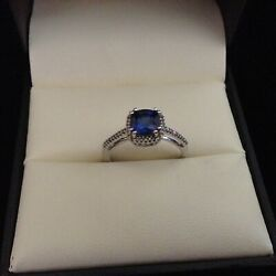 Created Blue Sapphire and 110 ct. tw. Diamond Birthstone Ring in 10K White Gold