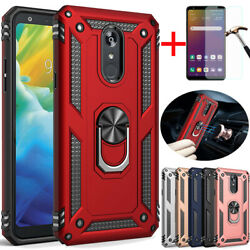 For LG Stylo 55 Plus Shockproof Armor Magnetic Ring Stand Case+Tempered Glass