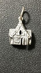 GINGERBREAD HOUSE CHRISTMAS Sterling Silver 925 Charm 3D  Door Hollow Back
