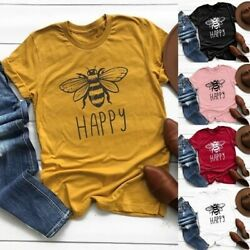 Women Graphic Bee Print Cute T-shirts Short Sleeve Summer Loose Fit Tops Blouse