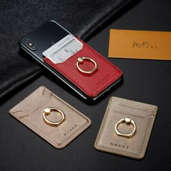 Adhesive Sticker For Samsung Universal Leather Card Holder Pocket+Ring Stand
