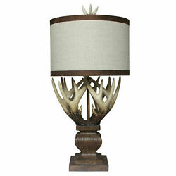 Rustic Country Deer Antler Table Lamp 34quot; Lodge Cabin Wildlife Decor $239.00
