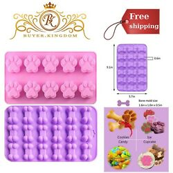 Silicone Chocolate Baking Dog Bone Paw Mold 28 Cavity For Puppy Treats Ice Cubes