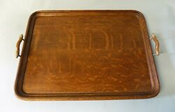 English Antique Oak Butler's Serving Tray. Good Size. Free Shipping to USA.