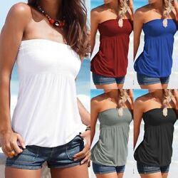 Women Strapless Bandeau Tube Top Vest Ladies Summer Beach Blouse Casual T Shirts