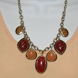 Statement Necklace Bold CHUNKY Red Orange Lucite Thermoset Gold Choker