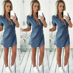Women Ladies Bodycon Slim Jeans Denim Ladies Casual Beach Short Mini Dress Tops