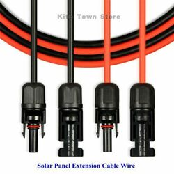 New 1 Pair Black Red Solar Panel Extension Cable Wire Connector 12 10 AWG $12.99