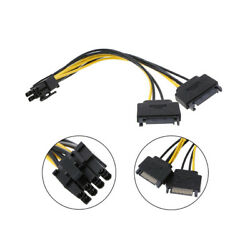 Dual SATA to PCI E Power Cable 15Pin SATA to 8 pin 6 pin Video Card Power Wire C $5.99