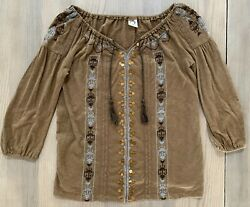 Akemi + Kin Women's Anthropologie Brown Top Size Small Free Priority Shipping