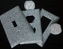 Silver Sparkle Glitter ~ Bling Light Switch Plates & Outlet Covers ~ Luxury Glam $6.00