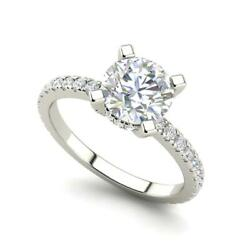 French Pave 2.5 Carat VVS2F Round Cut Diamond Engagement Ring White Gold