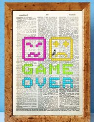 Gamer Game over art dictionary page art print vintage gift antique book E90 GBP 4.95