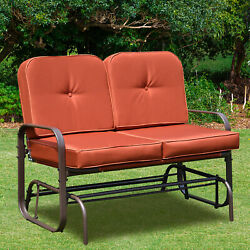 Patio Glider Bench Chair 2 Person Rocker Loveseat Outdoor Furniture WCushions