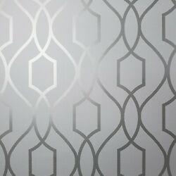 Contemporary Geometric lines modern wallpaper gray silver metallic wallcoverings $59.99