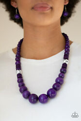 Paparazzi dramatic silver beads purple wooden beads Necklace w Earrings