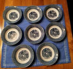 8 Vintage Currier and Ives By Royal China CHILDREN ON THE FENCE BERRY BOWLS