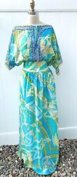 Emilio Pucci Iconic Maxi Dress Signature CottonSilk Summer Beach S M 1970s look