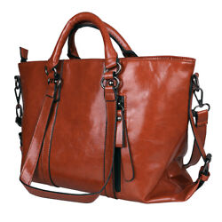 Women#x27;s Oiled Leather Handbag Lady Briefcase Tote Purse Shoulder Messenger Bag $24.89