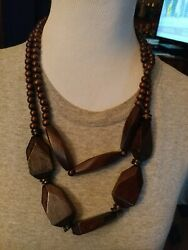 PAPARAZZI TROPICAL HEAT WAVE BROWN WOODEN BEAD LAYERED NECKLACE EARRING SET