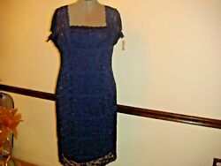 NWOT Onyx Nite Women NAVY BLUE Cocktail PLUS SIZE LACE Dress 18W $79.00