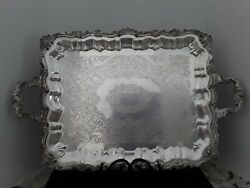 Vtg Silverplate Butler TrayServing Tray-Ornate Shell Engraved-Footed wHandles