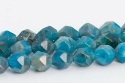 5MM Genuine Natural Blue Apatite Beads Grade A Star Cut Faceted Loose Beads