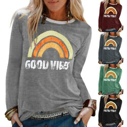 Women Casual Long Sleeve Rainbow Graphic Print Loose Fit Pullover Tops T-shirt