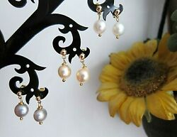 18K Gold Filled Baroque South Sea Pearl Drop Earrings Pink  Gray  White.