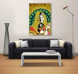 Wall Hanging Lady Home Decor Canvas Portrait Multicolor Wall Poster Painting $16.99