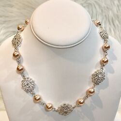 Macy's Charter Club Imitation Pink Pearl Silver Tone Filigree Necklace NEW NWOT