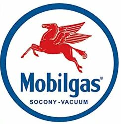MOBILGAS AND OIL ROUND TIN SIGN RUSTIC METAL GAS STATION WALL ART MOBIL GLOBE $12.89
