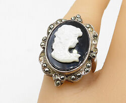 925 Silver - Vintage Black Onyx & Mother Of Pearl Cameo Ring Sz 7 - R10549