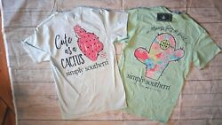 2 NWOT Simply Southern Women's Sz. Small Short Sleeve T-Shirts