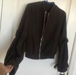 Brown She In Wool Blend Bomber Double Bell Sleeve Jacket O Ring Zipper