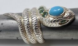 NICKY BUTLER STERLING SILVER SNAKE RING WITH TURQUOISE & PERIDOT EYES