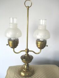Antique Brass Double Candle Tole Era Electric Reading Table Desk Library Lamp
