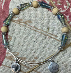 Alex & Ani Costume Silver Tone Crystal Wooden Stack Bracelet