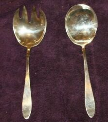 Antique Reed & Barton Salad Serving Set Silver Plate  Pointed spoon beautiful !