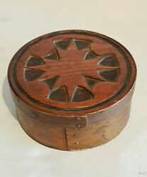antique wooden Grain measure bowl with engraved lid very nice