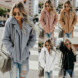 Women Long Sleeve Turn-down Collar Solid Color Faux Wool Jackets Outerwear Coats