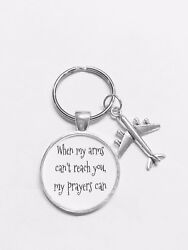 Airplane Keychain When My Arms Cant Reach You My Prayers Can Long Distance $10.99