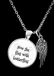 Memorial Necklace Now She Flies With Butterflies Mom Grandma Sister Jewelry